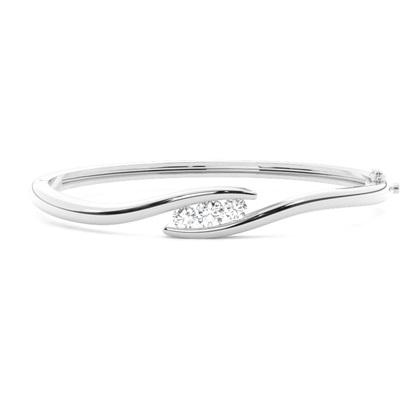 Bracelet jonc diamant rond serti rail 0.65ct