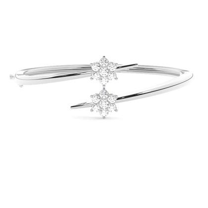 Bracelet jonc diamant rond serti 3 griffes et 6 griffes 1.00ct