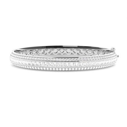 Bracelet jonc diamant rond/princesse serti rail et pavé 4.20ct