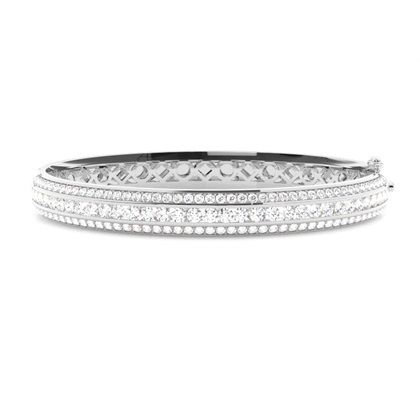 Bracelet jonc diamant rond serti rail et pavé 3.15ct