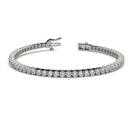 Bracelet rivière de diamants ronds serti 4 griffes profil d