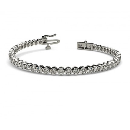 Bracelet rivière de diamants ronds serti clos