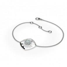 Bracelet délicat diamant rond serti griffes plates 0.25ct