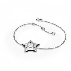 Bracelet délicat diamant rond serti griffes plates 0.05ct
