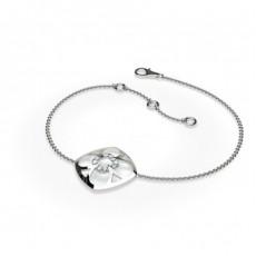 Bracelet délicat diamant rond serti griffes plates 0.10ct