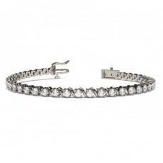 Bracelet rivière de diamants ronds serti 2 griffes