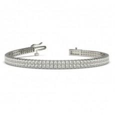 Bracelet rivière de diamants princesses 2 rangées serti griffes plates