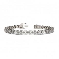 Bracelet rivière de diamants ronds serti 4 griffes