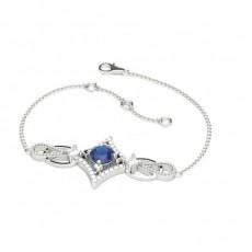 Bracelet delicat saphir bleu 4 griffes