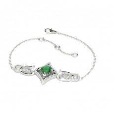 Bracelet delicat emeraude 4 griffes