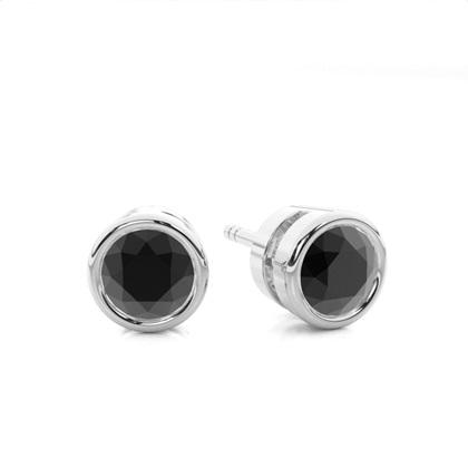 Boucles d'oreilles diamant noir serti clos