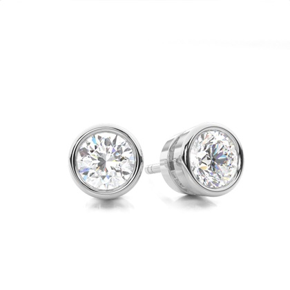 Puces d'oreilles diamant rond serti clos