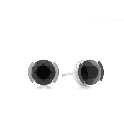 Boucles d'oreilles diamant noir serti demi-clos