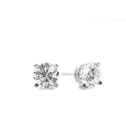 Puces d'oreilles diamant rond/princesse serti 4 griffes