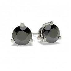 Boucles d'oreilles diamant noir serti 3 griffes