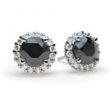 Boucles d'oreilles halo diamant noir serti 4 griffes