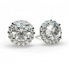 Boucles d'oreilles halo diamant rond serti 4 griffes
