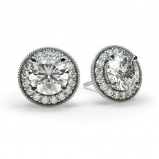 Boucles d'oreilles halo diamant rond serti 4 griffes et pavé