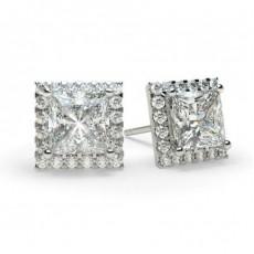 Boucles d'oreilles halo diamant princesse/rond serti 4 griffes