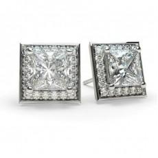 Boucles d'oreilles halo diamant princesse/rond serti 4 griffes et pavé