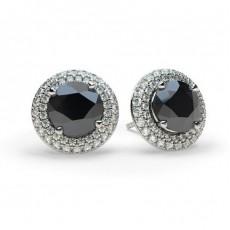Boucles d'oreilles halo diamant noir serti 4 griffes et pavé