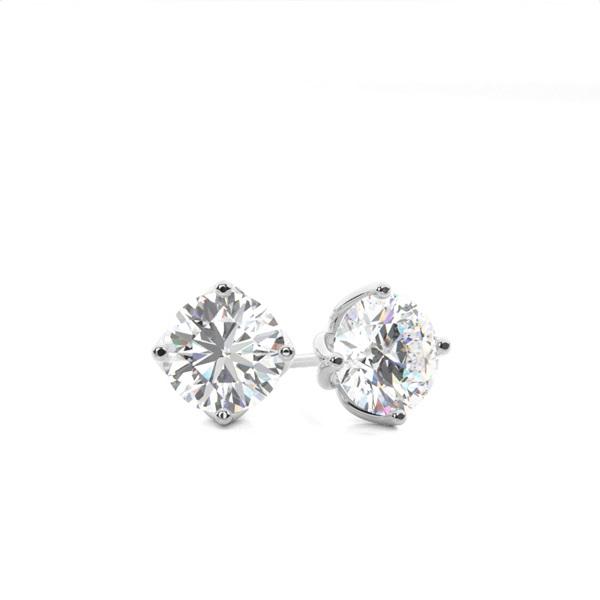 Puces d'oreilles diamant rond serti 4 griffes