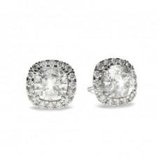 Boucles d'oreilles halo diamant coussin/rond serti 4 griffes