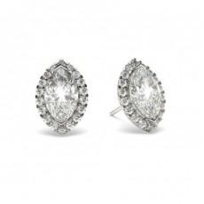 Boucles d'oreilles halo diamant marquise/rond serti 2 griffes et 4 griffes
