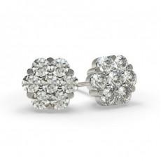 Boucles d'oreilles illusion diamant rond serti griffes 1.00ct
