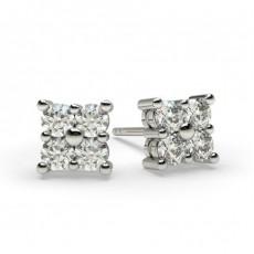 Boucles d'oreilles illusion diamant rond serti griffes 0.40ct