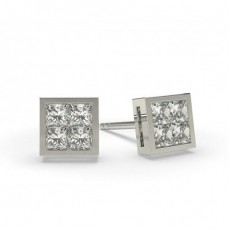 Boucles d'oreilles illusion diamant princesse serti invisible 0.30ct