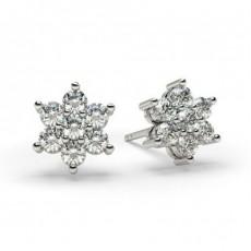 Boucles d'oreilles illusion diamant rond serti griffes 0.50ct
