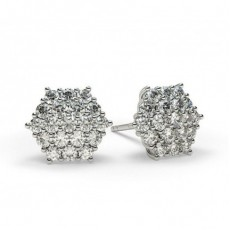 Boucles d'oreilles illusion diamant rond serti griffes 0.60ct