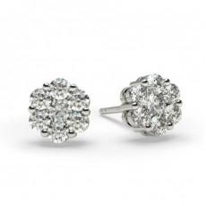 Boucles d'oreilles illusion diamant rond serti pincé 0.45ct