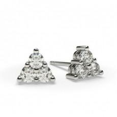 Boucles d'oreilles illusion diamant rond serti griffes 0.30ct