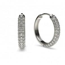 Boucles d'oreilles créoles diamant rond serti pavé 0.50ct