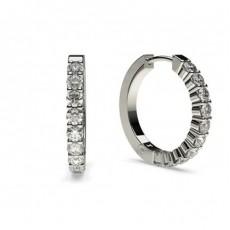 Boucles d'oreilles créoles diamant rond serti 4 griffes 0.62ct