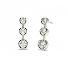 Boucles d'oreilles cascade diamant rond serti clos 2.00ct