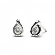 Boucles d'oreilles tendance diamant rond serti demi-clos