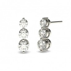 Boucles d'oreilles cascade diamant rond serti 2 griffes
