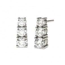 Boucles d'oreilles cascade diamant rond serti 4 griffes