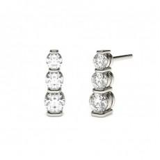 Boucles d'oreilles cascade diamant rond serti barette