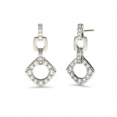 Boucles d'oreilles chute de diamants ronds serti griffes en 0.50ct