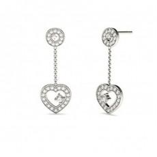 Boucles d'oreilles chute de diamants ronds serti 4 griffes et pavé en 0.25ct