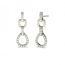 Boucles d'oreilles chute de diamants ronds serti pavé en 0.40ct