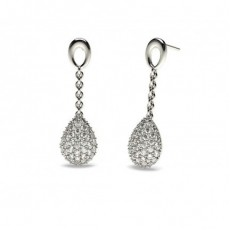 Boucles d'oreilles chute de diamants ronds serti pavé en 1.10ct