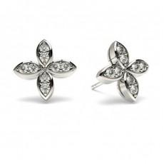 Boucles d'oreilles délicates diamant rond serti 3 griffes 0.25ct