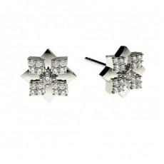 Boucles d'oreilles délicates diamant rond serti 4 griffes et pavé 0.15ct