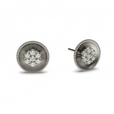 Boucles d'oreilles délicates diamant rond serti pression 0.10ct