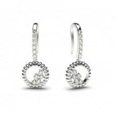 Boucles d'oreilles délicates diamant rond serti 4 griffes et pavé 0.20ct